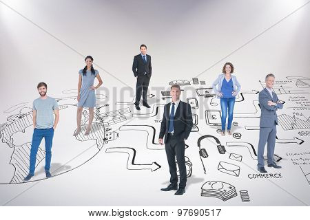 Business team against brainstorm graphic