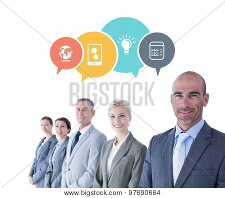 Business colleagues looking at camera against app speech bubbles