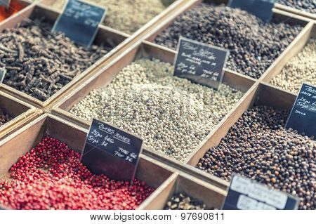 Close Up Of Spices On A Provencal Street Market In Provence, France