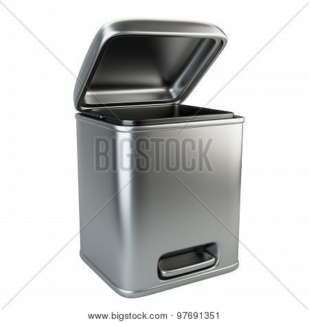 Open Metallic Trash Can
