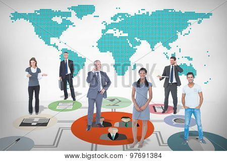 Business team against green world map on white background