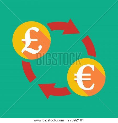 Exchange Sign With A Pound Sign And An Euro Sign
