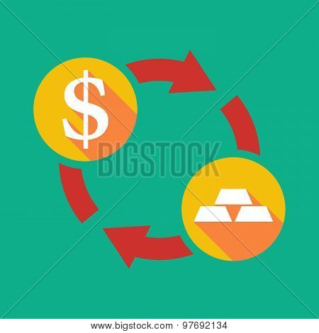 Exchange Sign With A Dollar Sign And Gold Bars