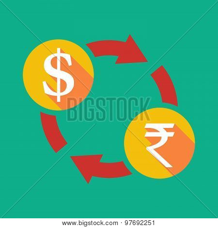 Exchange Sign With A Dollar Sign And A Rupee Sign