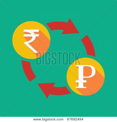 Exchange Sign With A  Rupee Sign And A Ruble Sign