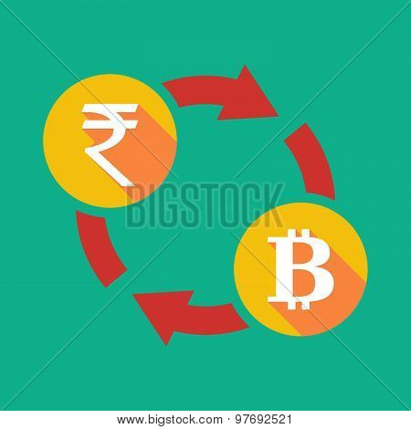 Exchange Sign With A  Rupee Sign And A Bit Coin Sign