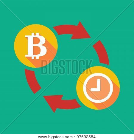 Exchange Sign With A  Bit Coin Sign And A Clock