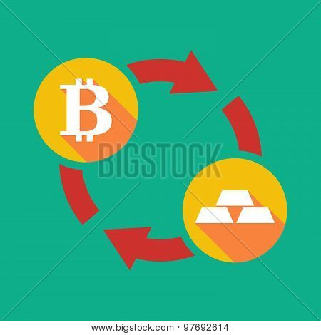 Exchange Sign With A  Bit Coin Sign And Gold Bars