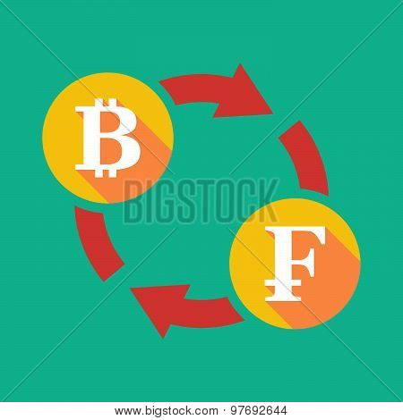 Exchange Sign With A  Bit Coin Sign And A Swiss Franc Sign