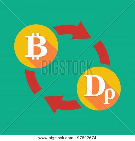 Exchange Sign With A  Bit Coin Sign And A Drachma Sign