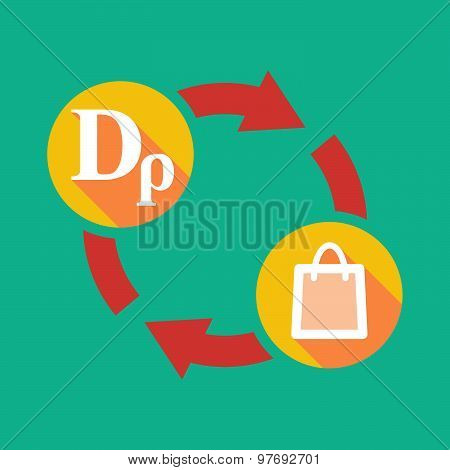 Exchange Sign With A Drachma Sign And A Shopping Bag
