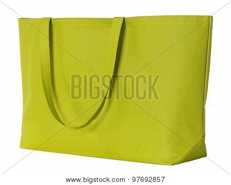 Yellow Shopping Bag Isolated On White With Clipping Path