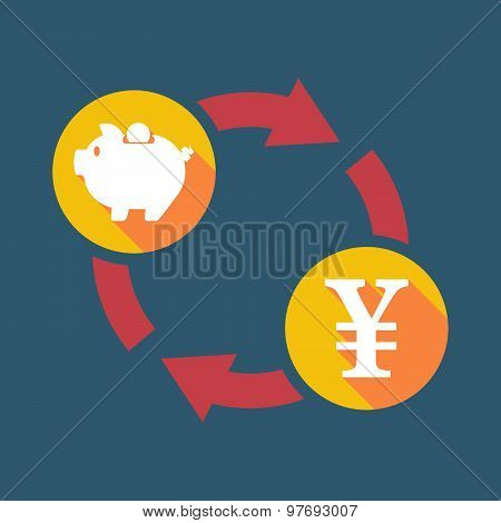 Exchange Sign With A  Piggy Bank And A Yen Sign