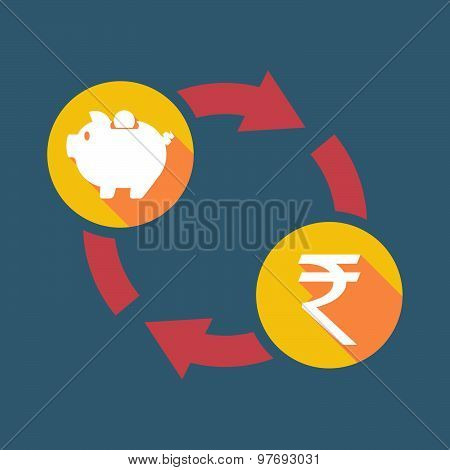 Exchange Sign With A  Piggy Bank And A Rupee Sign