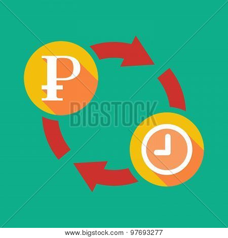 Exchange Sign With A Ruble Sign And A Clock