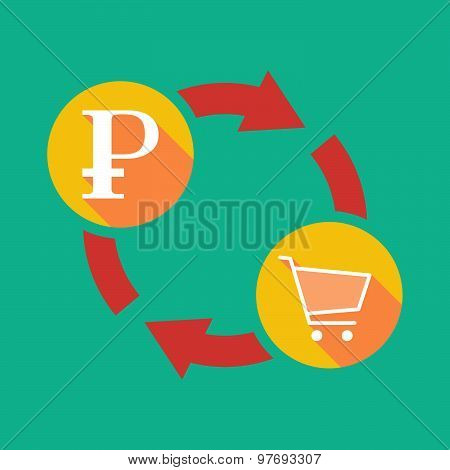 Exchange Sign With A Ruble Sign And A Shopping Cart