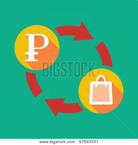 Exchange Sign With A Ruble Sign And A Shopping Bag