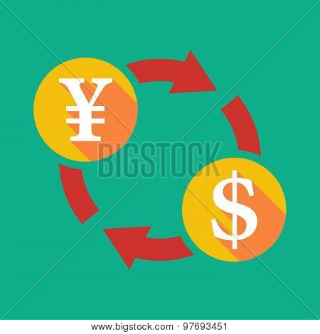 Exchange Sign With A Yen Sign And A Dollar Sign