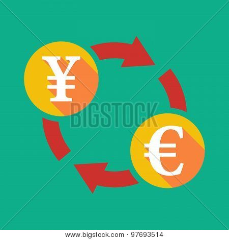 Exchange Sign With A Yen Sign And An Euro Sign