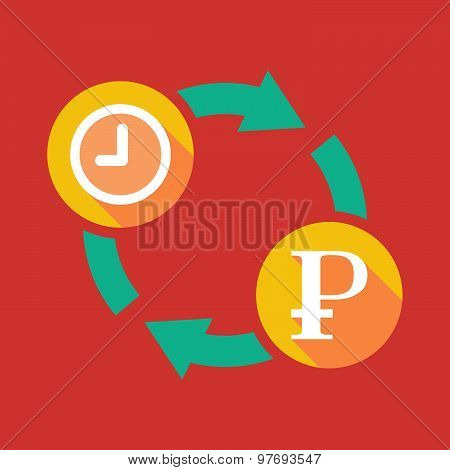 Exchange Sign With A Clock And A Ruble Sign