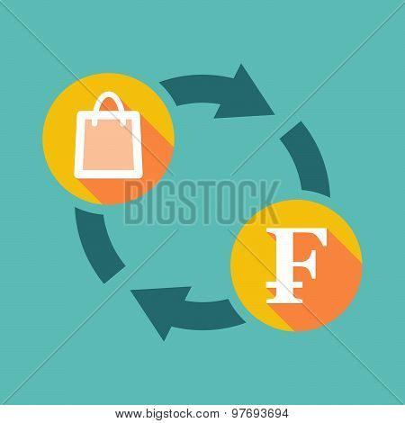 Exchange Sign With A Shopping Bag And A Swiss Franc Sign