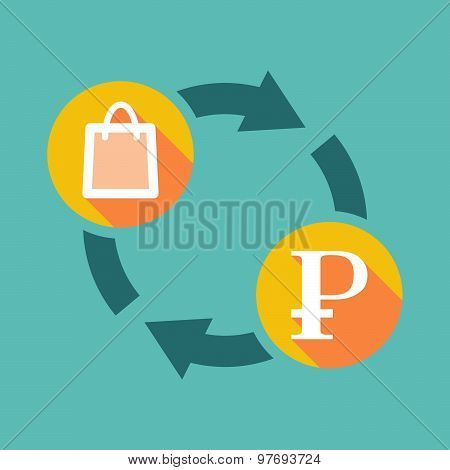 Exchange Sign With A Shopping Bag And A Ruble Sign