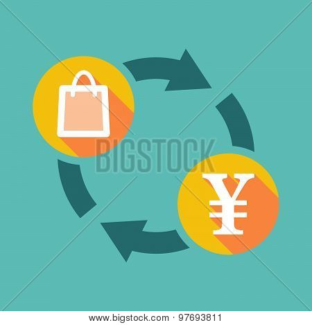 Exchange Sign With A Shopping Bag And A Yen Sign