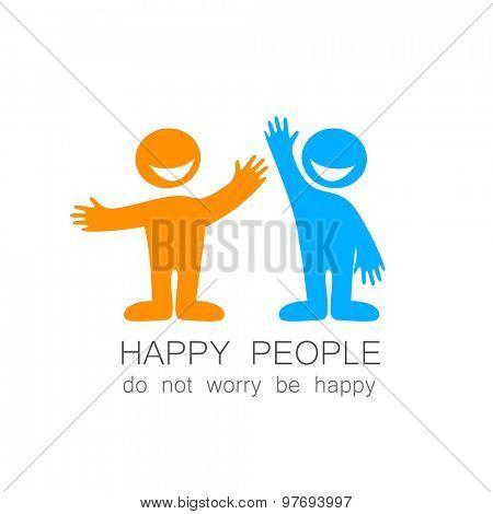 Happy people - template mark. The idea of social logo.