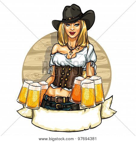 Pretty cowgirl with beer mugs, label