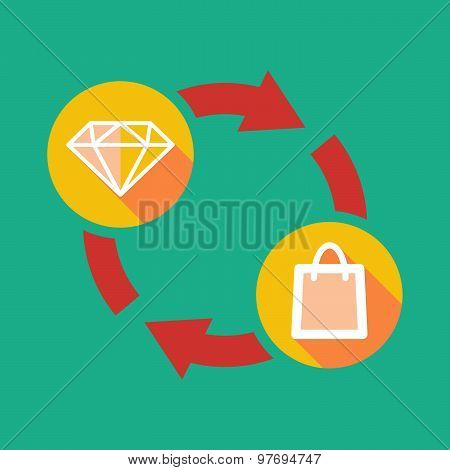 Exchange Sign With A Diamond And A Fuel Drop