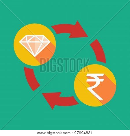 Exchange Sign With A Diamond And A Rupee Sign