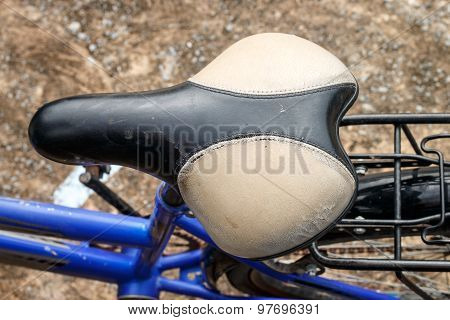 Old Leather Saddle Of Bicycle On Top View