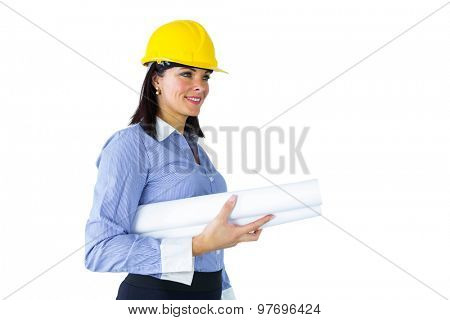 Architect carrying construction plans on white background