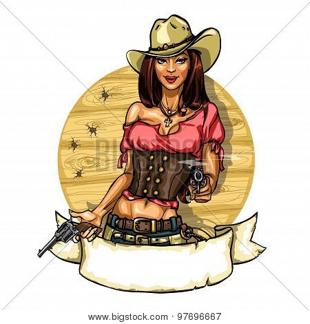 Pretty cowgirl with guns, label isolated on white