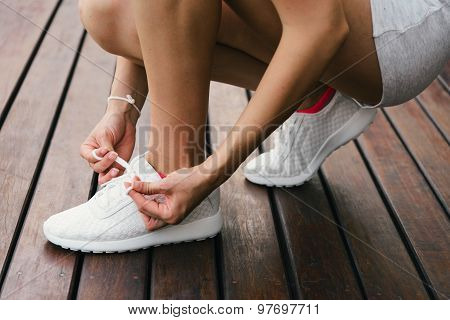 Woman Lacing Fitness Footwear
