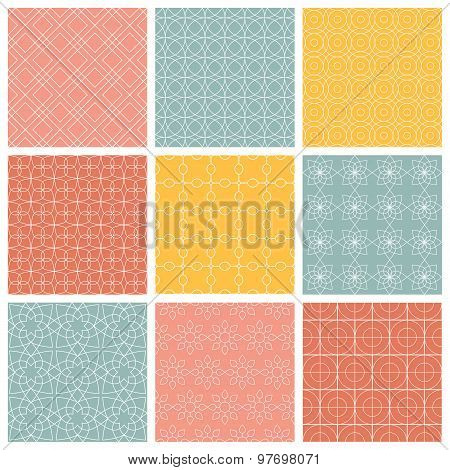 Geometric patterns  Set of vector seamless abstract vintage backgrounds.