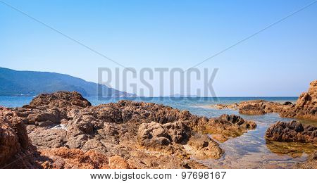 Coastal Rocks In The Mediterranean Sea Water