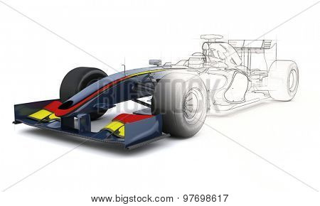 3D Render of a Generic racing car with half in sketch preview