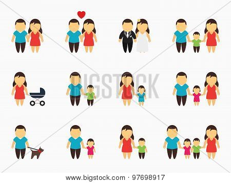 Flat family icons set