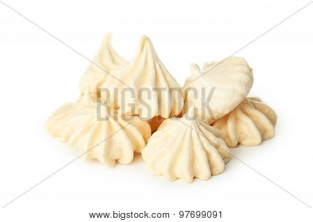 French and tasty Meringue isolated on white