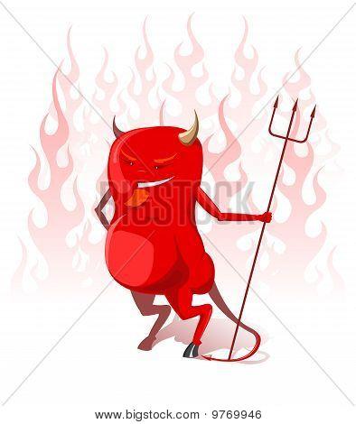 Vector diablo rojo en las llamas del infierno