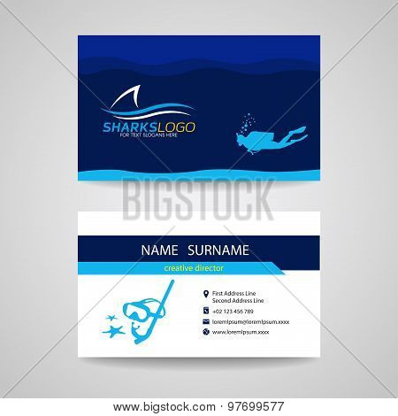 Business card of Scuba Diving and shark blue vector design