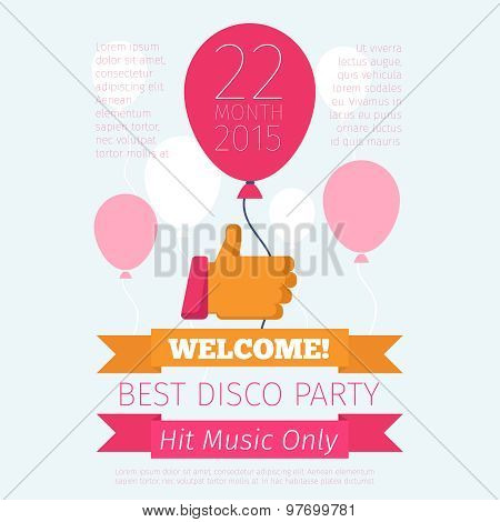 Celebrate or party poster with thumbs up and balloon