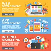 Постер, плакат: Web development mobile apps development internet marketing flat illustration concepts set