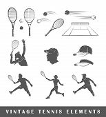 Постер, плакат: Set Tennis Silhouettes