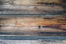 image of smut  - Old wooden wall with rusty nails dark brown texture - JPG