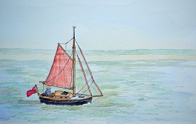 stock photo of sails  - Ink and watercolour painting of vintage sailing boat with red sails - JPG