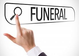 stock photo of funeral  - Funeral written in search bar on virtual screen - JPG