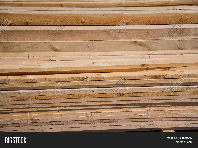 Lumber Timber Natural Wood Boards And Beams Stock Photo