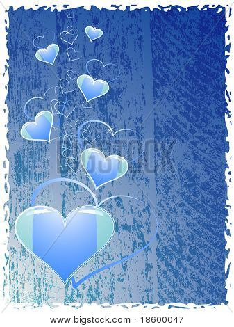 Hearts on the blue splotchy background